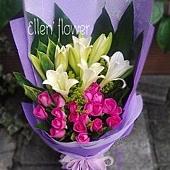 [AE080] 浪漫情調__20朵紫玫瑰百合花束$1899.jpg