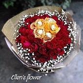 [AE079] 手心的太陽__30朵紅玫瑰金莎花束$2299.jpg