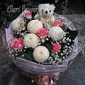 [AE089]心的盼望__5朵玫瑰小熊花束$1099.jpg