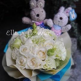 [AE105] 相知相惜__20朵白玫瑰花束$2199.jpg