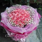 [AE107] 粉想你_33朵粉玫瑰花束$1999.jpg