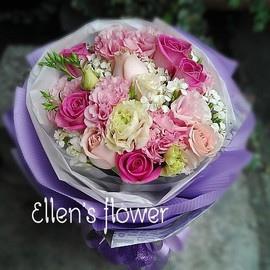 [AE112] 花舞馨情__11朵粉紫玫瑰花束$1399.jpg