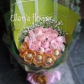 [AE110] 閃亮的心__20朵粉玫瑰金莎花束$1599.jpg