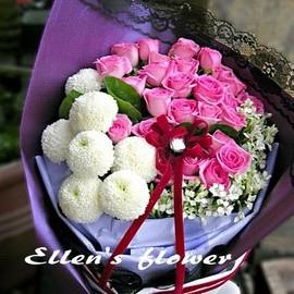 [AE118] 回憶的方向__22朵紫玫瑰花束$1899.jpg