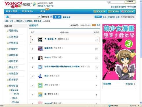 恭喜!!連續兩週入榜知識「女性疾病」分類高手-第一名!!^__^