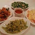 20110612 塔香魚片、雞米豆仁、蝦仁炒蛋、苦瓜鹹蛋
