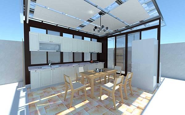 白色門片系列廚具櫃門天花+拼花地板_白天效果
