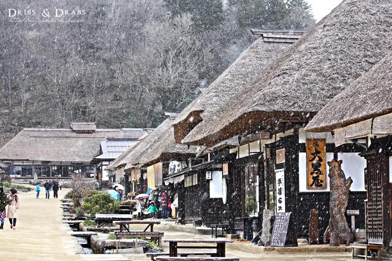 福島大內宿飄著雪的日子