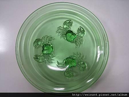 C0934_玻璃螃蟹水果盤(日本昭和)