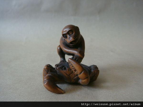 C1894_根付_螃蟹&猴子_黃楊木
