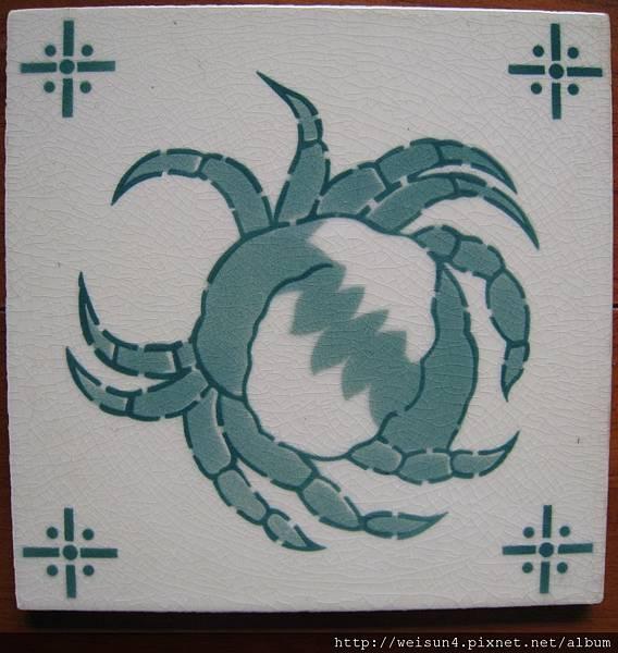 C0955_磁磚_綠色螃蟹