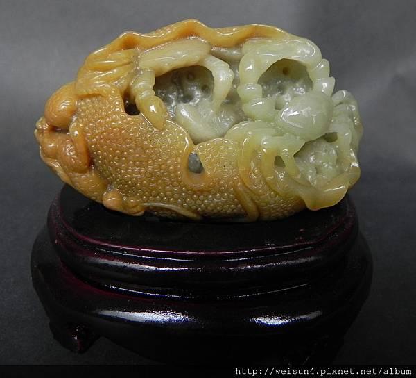 C0557_緬甸蜜糖黃玉_蓮蟹蟾蜍