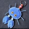 鑰匙圈_C0944_藍色麂皮螃蟹