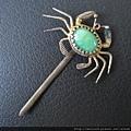 老銀_C0669_老銀飾髮簪_鑲料螃蟹