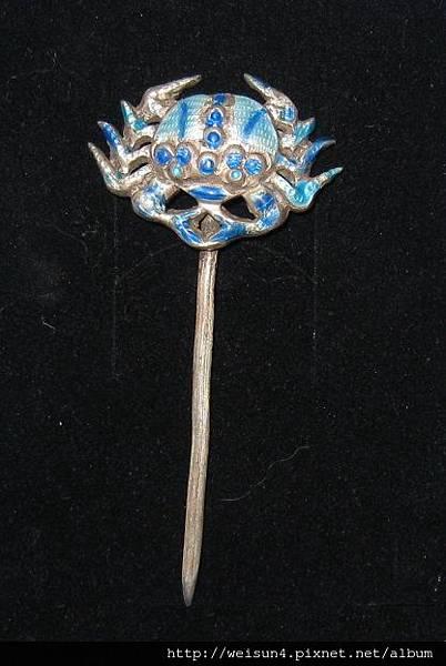 老銀_C1744_燒藍螃蟹簪.JPG