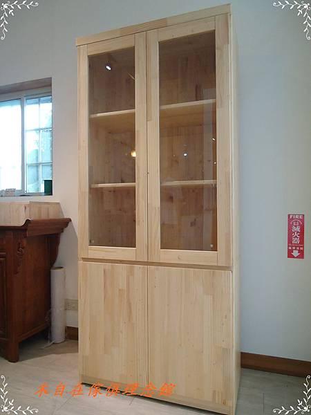 紐松玻璃書櫃1.JPG