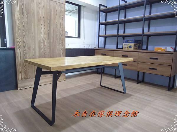 柚木假厚4.8鐵腳餐桌1.JPG