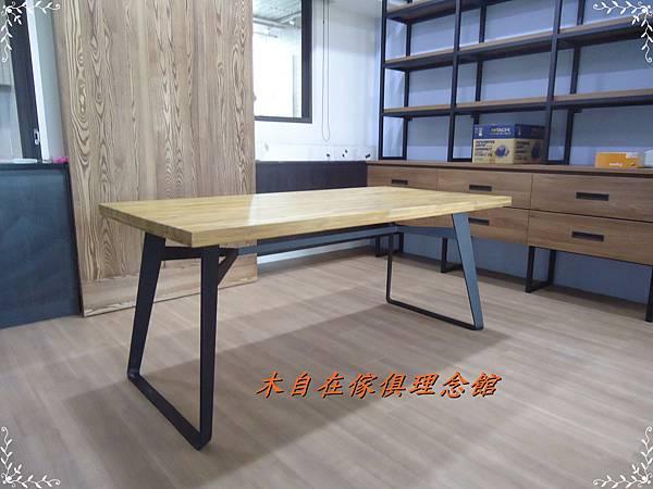 柚木假厚4.8鐵腳餐桌3.JPG