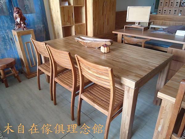 柚木假厚6CM四柱腳餐桌1.JPG