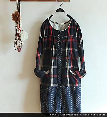 日本正品 鄉村風紅藍格子洋裝 525
