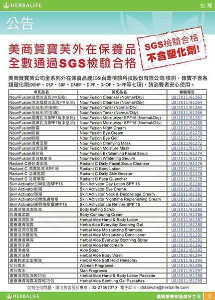全數通過SGS檢驗合格