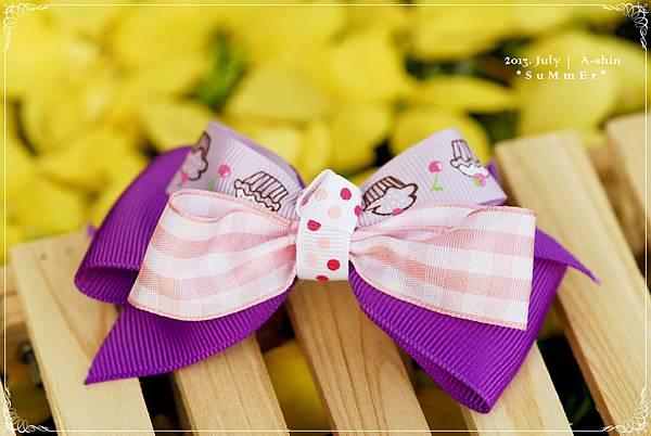 粉紅艷紫緞帶髮夾