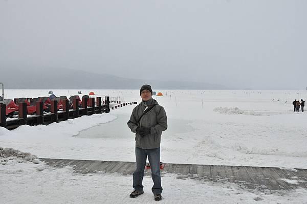 徒步走到阿寒湖,一路上超滑的