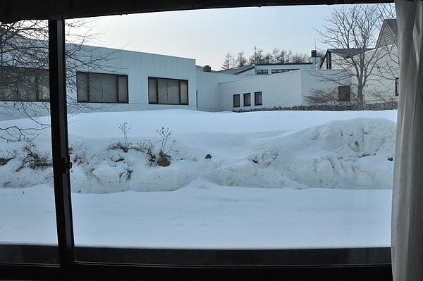 第一晚,佐賀渡假村,第一次看到窗外的雪景。