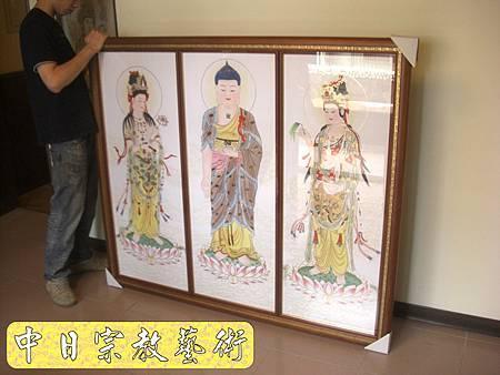 柚木明式供桌 手繪西方三聖神桌佛桌神像佛像神聯佛聯N5306E.jpg