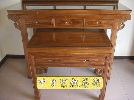 柚木明式供桌 手繪西方三聖神桌佛桌神像佛像神聯佛聯N5313E.jpg