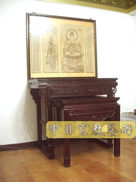 紅木明式佛桌 觀世音菩薩木雕聯N6801.JPG