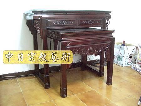 紅木明式佛桌 觀世音菩薩木雕聯N6806.JPG