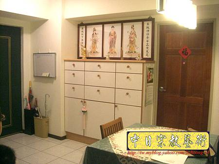 N9502.裝潢式神桌佛櫥櫃 西方三聖手繪佛聯