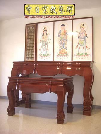 N10401.台灣梢楠木神桌拉米大腳 手繪西方三聖綢布佛畫