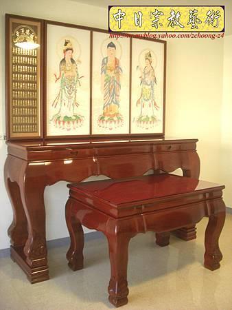 N10402.台灣梢楠木神桌拉米大腳 手繪西方三聖綢布佛畫