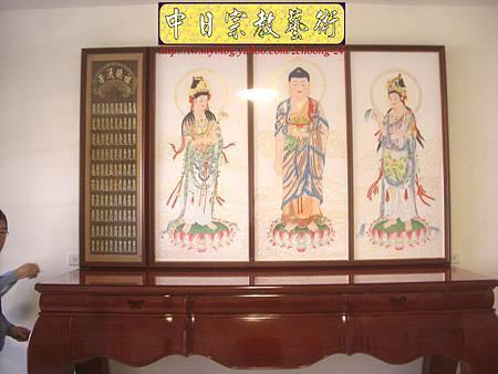 N10403.台灣梢楠木神桌拉米大腳 手繪西方三聖綢布佛畫