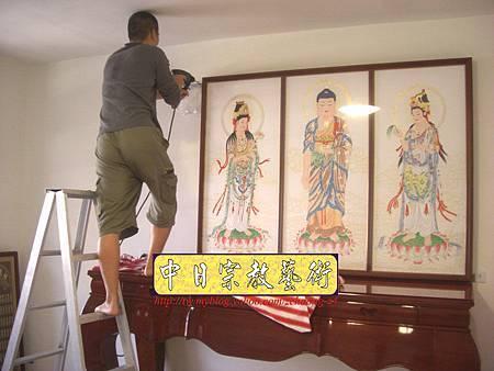 N10411.台灣梢楠木神桌拉米大腳 手繪西方三聖綢布佛畫