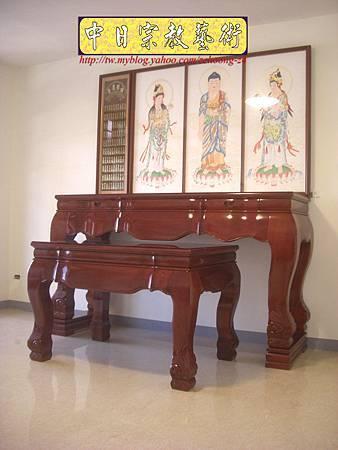 N10414.台灣梢楠木神桌拉米大腳 手繪西方三聖綢布佛畫