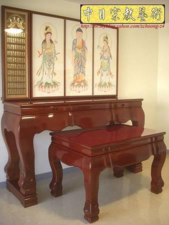 N10415.台灣梢楠木神桌拉米大腳 手繪西方三聖綢布佛畫