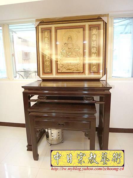 N14801.神桌佛堂設計 漢式金錢佛桌 雷射雕刻觀音聯.JPG