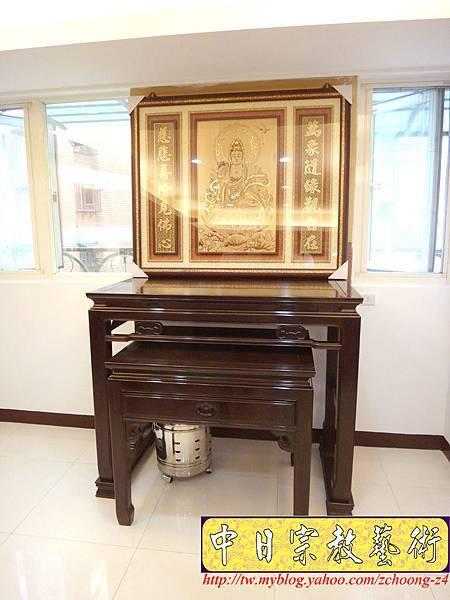N14802.神桌佛堂設計 漢式金錢佛桌 雷射雕刻觀音聯.JPG