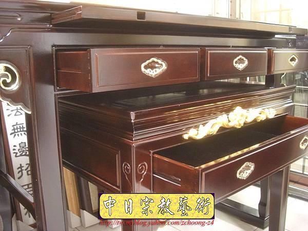 M5503.黑紫檀明式鑲金仿古神桌佛桌.JPG
