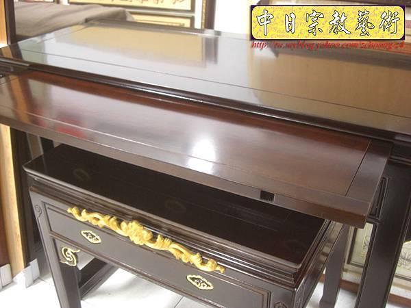 M5506.黑紫檀明式鑲金仿古神桌佛桌.JPG