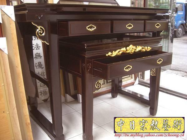 M5517.黑紫檀明式鑲金仿古神桌佛桌.JPG