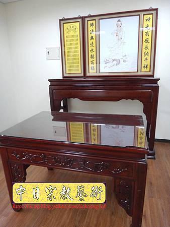 N15401.漢式神桌樣式 佛桌聯-站龍觀音神明彩.JPG
