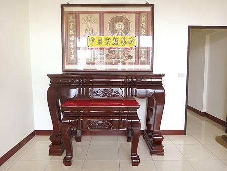 N17302.紫檀色拉米神桌 現代實木雕刻佛桌神聯~自在觀音(5尺8設計).JPG