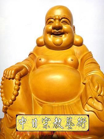 L3001.彌勒佛木雕佛像 一貫道彌勒菩薩(樟木).JPG
