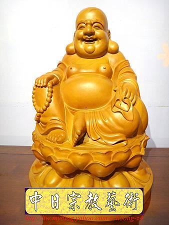 L3002.彌勒佛木雕佛像 一貫道彌勒菩薩(樟木).JPG