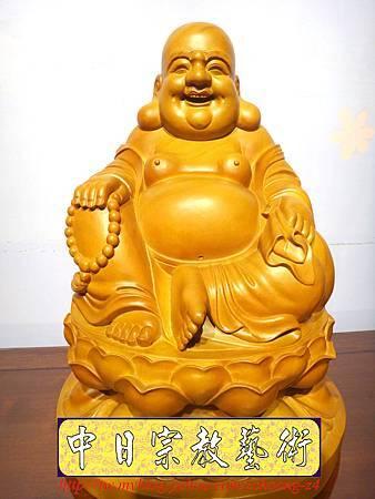 L3016.彌勒佛木雕佛像 一貫道彌勒菩薩(樟木).JPG