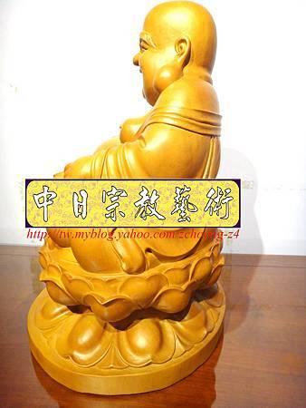 L3017.彌勒佛木雕佛像 一貫道彌勒菩薩(樟木).JPG